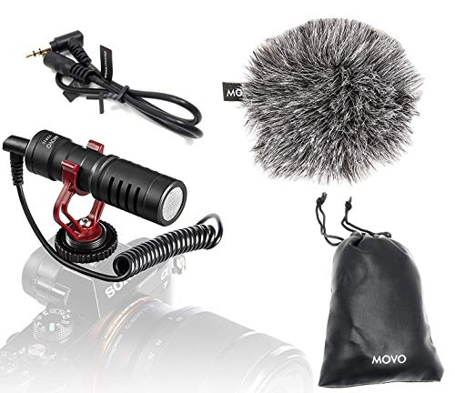 Movo VXR10 Universal Cardioid Condenser Video Microphone with Shock Mount, Deadcat...