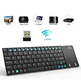 (Newest Version) Rii K12+ Mini Wireless Keyboard with Touchpad Mouse, Stainless...