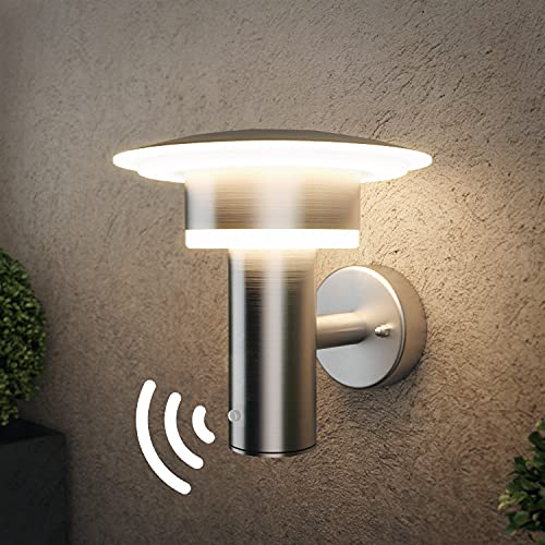 Dusk to Dawn Sensor LED Outdoor Wall Light Fixtures Exterior Light Stainless Steel IP44...