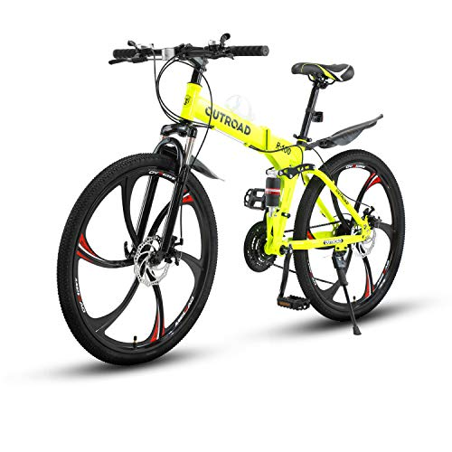 Max4out Mountain Bike Folding Bikes with High Carbon Steel Frame, Featuring 6 Spoke Wheels...