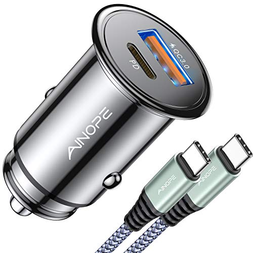 USB C Car Charger Super Mini AINOPE All Metal 36W Fast USB Car Charger PD&QC 3.0 Dual Port...