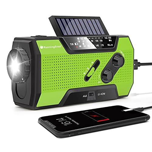 RunningSnail Emergency Weather Radio, AM/FM/NOAA Hand Crank Solar Radio with SOS Alarm,...