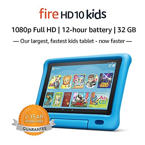"""Fire HD 10 Kids Tablet – 10.1"""" 1080p full HD display, 32 GB, Blue Kid-Proof Case (2019..."""