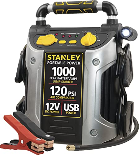 STANLEY J5C09 Portable Power Station Jump Starter: 1000 Peak/500 Instant Amps- 120 PSI Air...