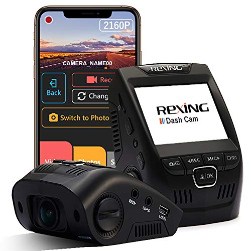 Rexing V1 - 4K Ultra HD Car Dash Cam 2.4' LCD Screen, Wi-Fi, 170° Wide Angle Dashboard...