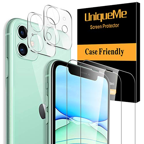 [2+2 Pack] UniqueMe Compatible with iPhone 11 6.1- inch, 2 Pack Screen Protector Tempered...