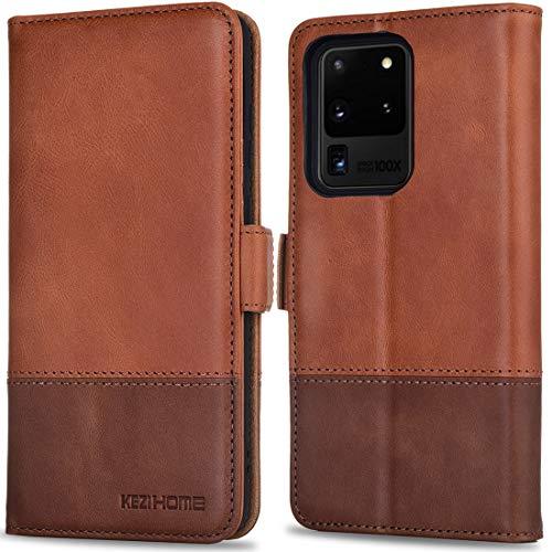 KEZiHOME Galaxy S20 Ultra Case, Genuine Leather Samsung S20 Ultra 5G Wallet Case Flip...