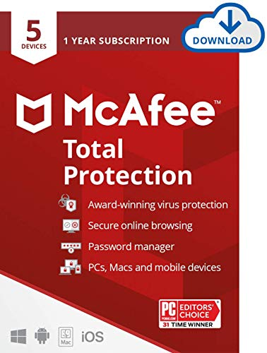 McAfee Antivirus Total Protection 2021, 5 Device, Internet Security Software, Password...