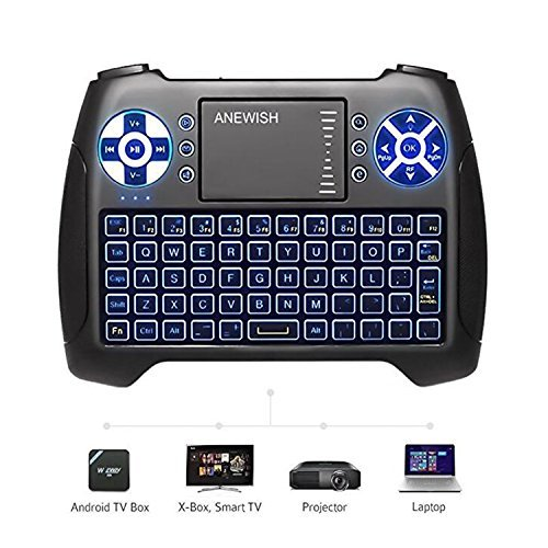 (2020 Latest, Backlit) ANEWISH 2.4GHz Mini Wireless Keyboard with Touchpad Mouse...