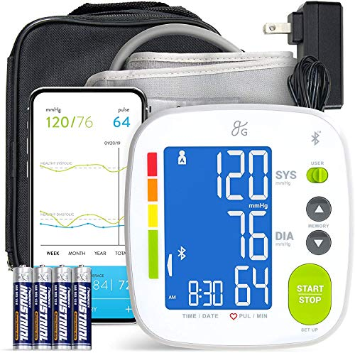 Greater Goods Bluetooth Blood Pressure Monitor Cuff, Smartphone Connected Health...