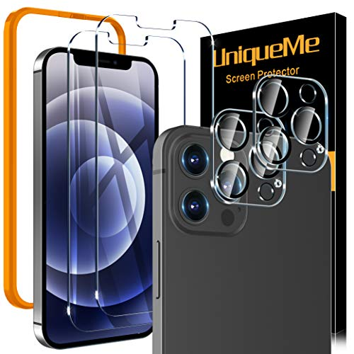 4 Pack UniqueMe 2 Pack Screen Protector Compatible For iPhone 12 Pro [6.1 inch] and 2 Pack...