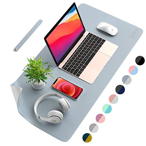 AFRITEE Desk Pad Protector Mat - Dual Side PU Leather Desk Mat Large Mouse Pad Waterproof...