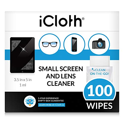 iCloth Lens and Screen Cleaner Pro-Grade Individually Wrapped Wet Wipes, 1 Wipe Cleans an...