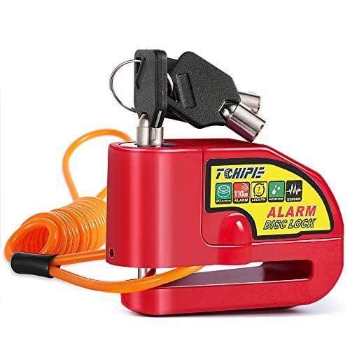 Tchipie Disc Brake Lock Motorcycle Alarm with 110db Alarm Sound, Anti Theft Security Wheel...