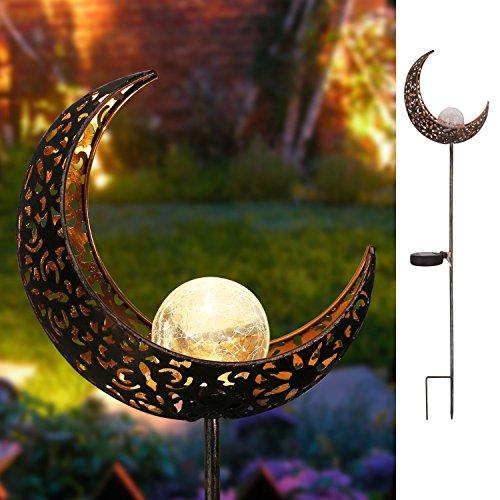 Homeimpro Garden Solar Lights Pathway Outdoor Moon Crackle Glass Globe Stake Metal...