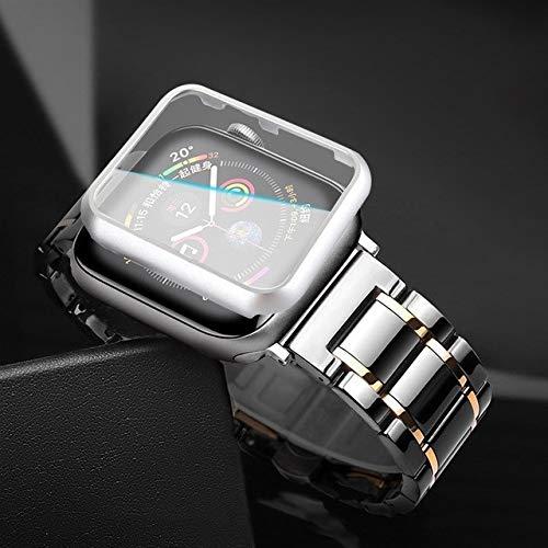 QAZWSX Prevent Allergy CASE+Ceramic Strap for Apple Watch 5 Band 44mm 40mmm Luxury...