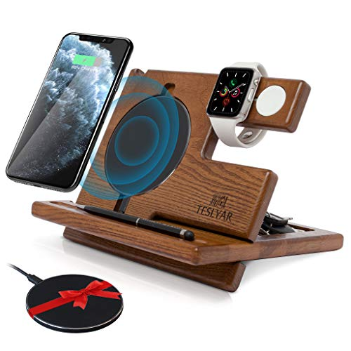 TESLYAR Wood Phone Docking Station Ash Key Holder Wallet Stand Watch Organizer Men Gift...