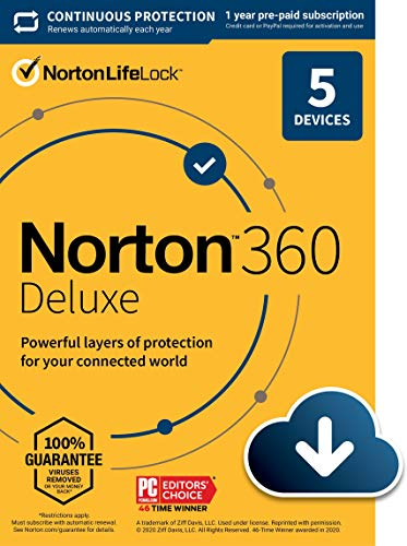 Norton 360 Deluxe 2021 – Antivirus software for 5 Devices with Auto Renewal - Includes...