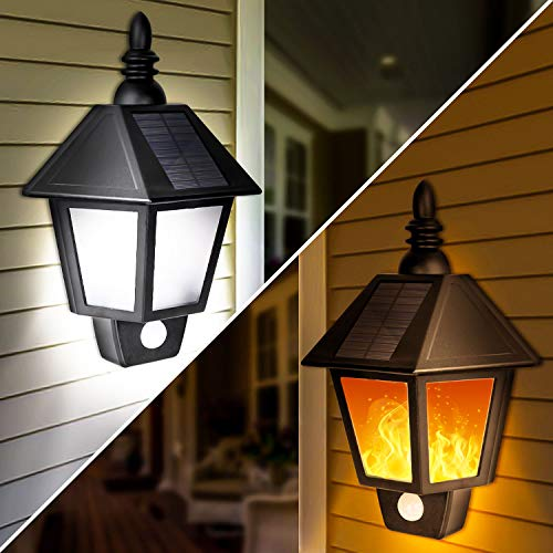 2 Pack Solar Lights Outdoor, 2 in 1 Solar Sconce Decorative Flickering Flame Wall Lights,...