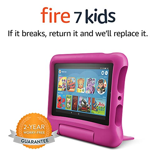Fire 7 Kids Tablet, 7' Display, ages 3-7, 16 GB, Pink Kid-Proof Case