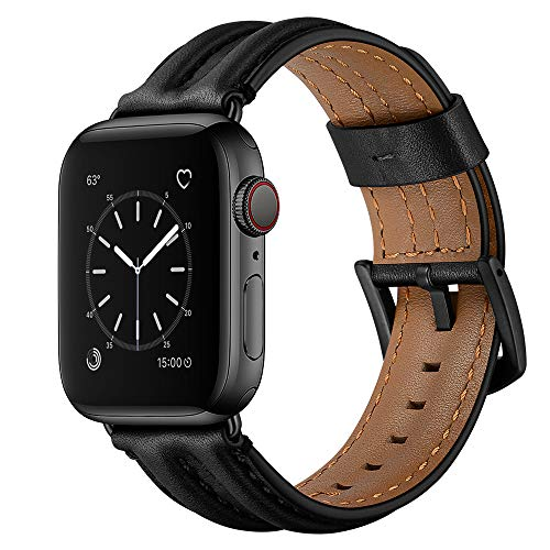 Hepsun Genuine Vintage Leather Sport Bands Compatible with Apple Watch band 42mm 44mm,...