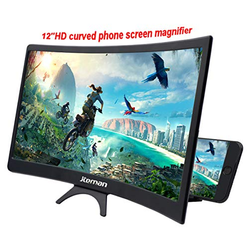jteman 12'' Curved Screen Magnifier Mobile Phone 3D Magnifier Projector Screen for Movies,...
