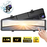 AKASO DL12 2.5K Mirror Dash Cam 12' Touch Screen Front and Rear Dual Dash Camera...