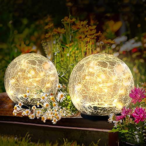Kooboe Garden Solar Lights Outdoor, 2 Packs Crack Glass Ball Solar Ground Lights,...