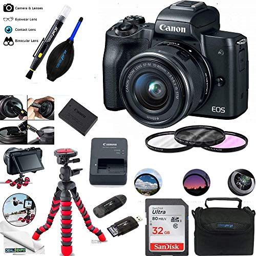 EOS M50 Mirrorless Camera Kit w/EF-M15-45mm and 4K Video - Black - Essential Accessories...