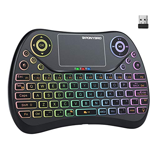 (Newest Version) PONYBRO Backlit Mini Wireless Keyboard with Touchpad Mouse Combo QWERTY...