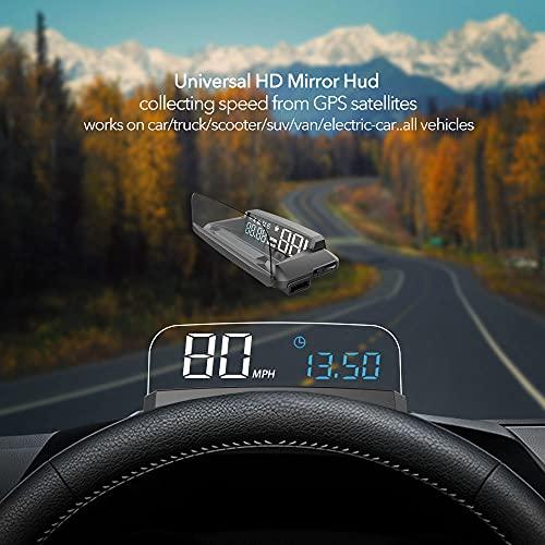VJOYCAR R1 HUD GPS Speedometer Universal 3D Head Up Display Digital Speed MPH Overspeed...