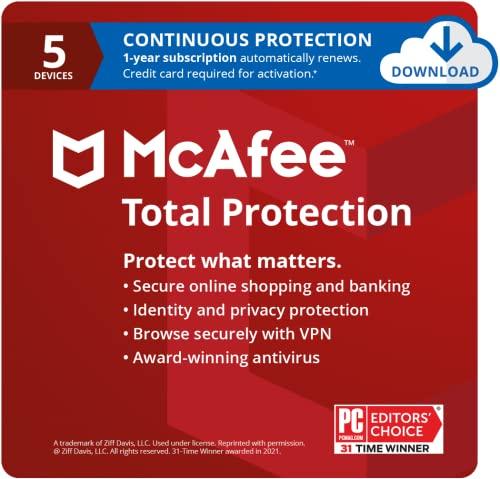 McAfee Total Protection 2021, 5 Device, Antivirus Internet Security Software, VPN, Dark...