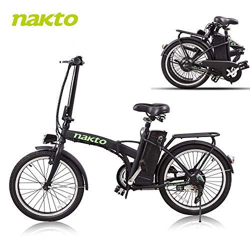 NAKTO 20'' Folding Electric Bicycle Foldable Ebike City Electric Bike with 250w Rear Hub...