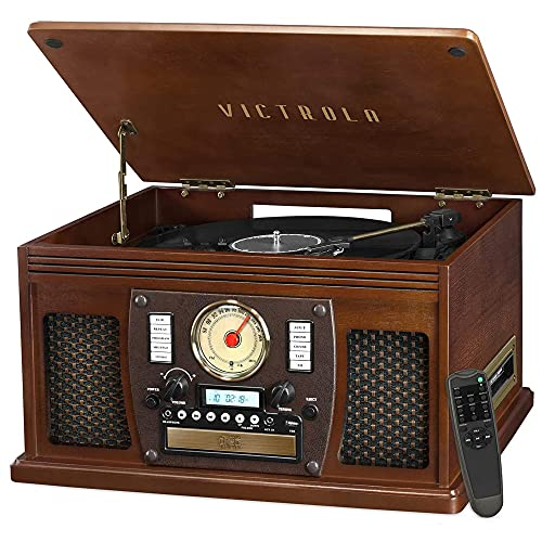 Victrola 8-in-1 Bluetooth Record Player & Multimedia Center, Built-in Stereo Speakers -...