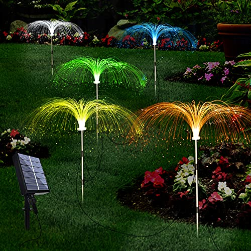 Upgraded Solar Garden Lights Outdoor 5 Pack, 7 Color Changing Solar Flowers Garden Lights,...
