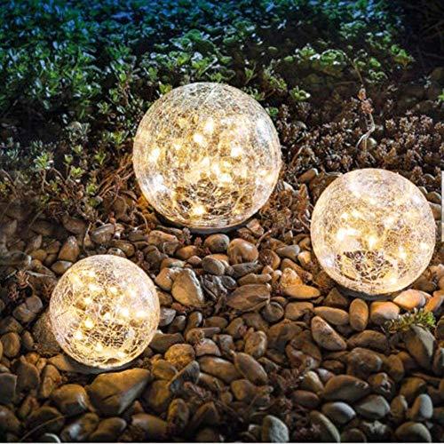 Garden Solar Lights, Cracked Glass Ball Waterproof Warm White LED for Outdoor Decor...