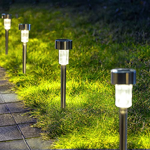 GIGALUMI Solar Pathway Lights 12 Pack, Stainless Steel IP44 Waterproof Auto On/Off Outdoor...