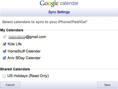 Sync Google Secondary Calendar iOS