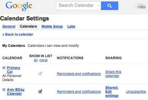 Google Secondary Calendar