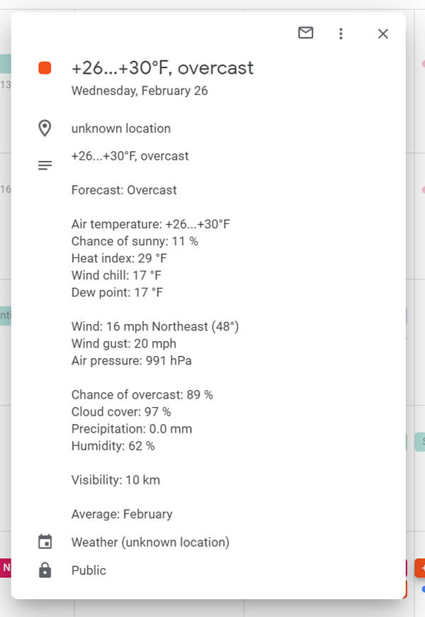 Google Calendar weather forecast