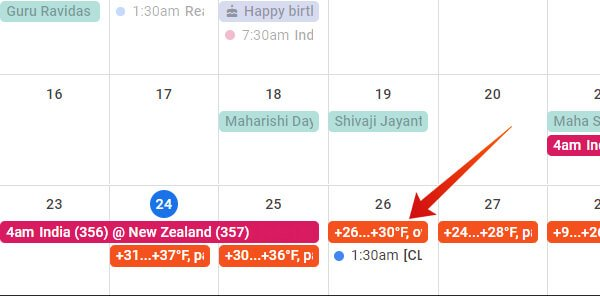 Show weather in Google Calendar