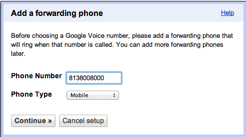 GVoice Forward Number