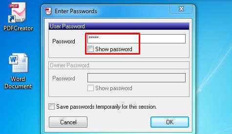 imposta la password di salvataggio pdf
