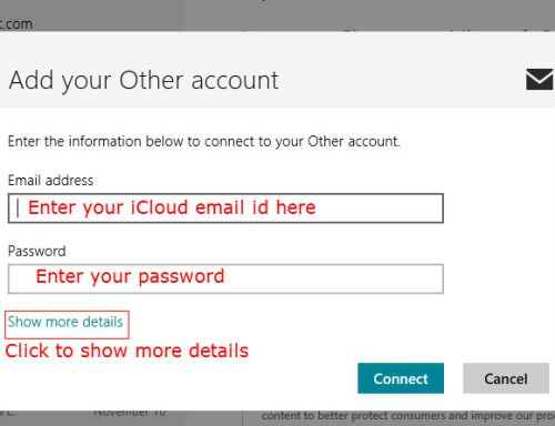 iCloud email to Windows 8 mail id