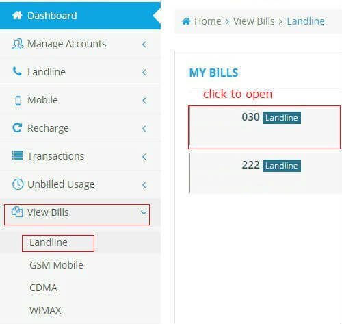 Download BSNL Land Line Bill