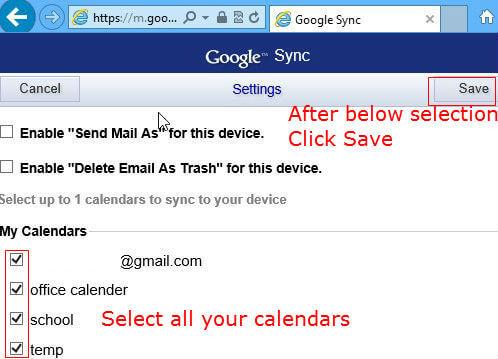 Google secondary calendar to windows 8