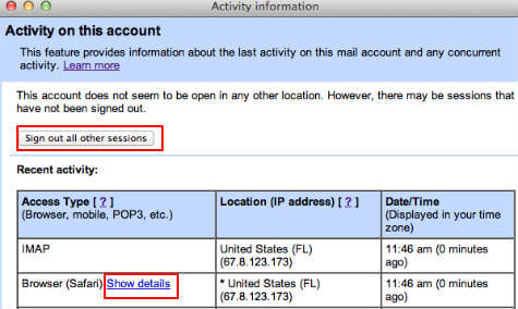 gmail remote log off