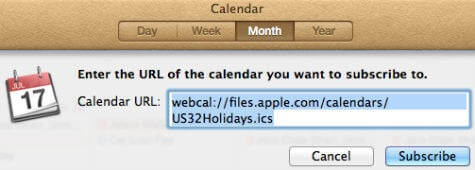ical add subscribed calendar