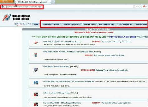 BSNL Pay Bills Online