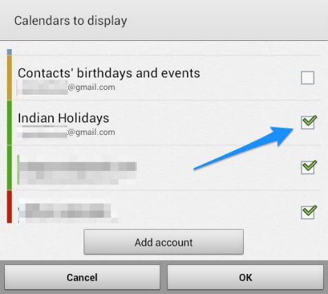 Samsung Calendar Select